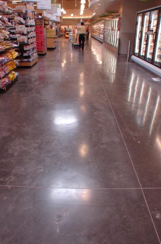 Finished and Sealed Grocery Store Aisle at Albertson's Supermarket Using Davis Colors Concrete Pigments