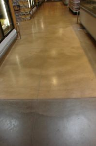 This floor is from a Albertson's in San Marcos, CA. It was colored with Davis Colors concrete color pigments www.daviscolors.com. Color used in this picture is Ivory. Superior was the ready mix plant which provided the concrete www.superiorrm.com. The contractor was Oakley Construction 714-842-1073.