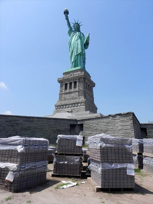 Statue of Liberty Restoration - Brick and Pavers are colored using Davis Colors Brick Stone and Autumn Blend concrete pigments
