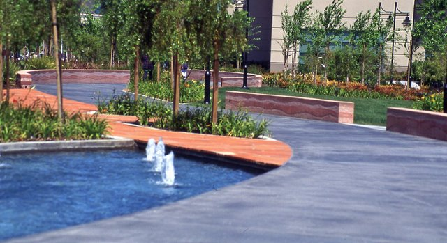 Cisco Systems' Campus - The walls were colored with Davis Colors Brick Red and 1117 at 5 lbs per sack of cement.