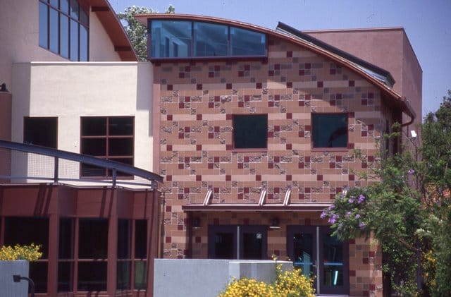 Oakwood school in North Hollywood. The colored stone work was created using Davis Colors concrete pigments