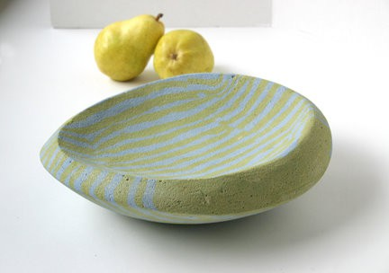 Unique striped bowl created using Davis Colors concrete pigments