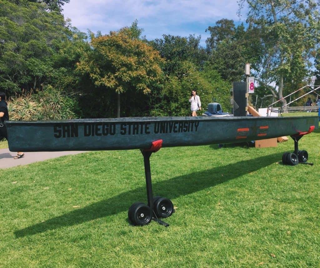 San Diego State University 2017 concrete canoe entry colored using Davis Colors concrete pigments